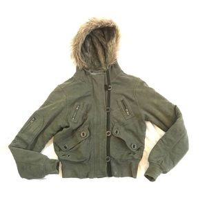 Hurley Green Jacket Button Up Utility Hooded Coat